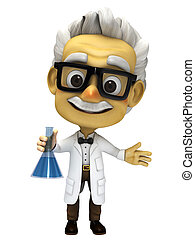 3d cartoon Professor with lab glass