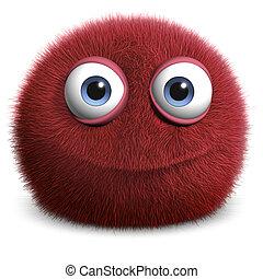 3d cartoon red hairy ball