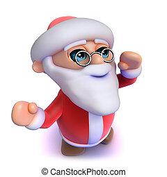3d Cartoon Santa cheers happily at Christas