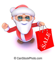 3d Cartoon Santa has been to the Christmas sales