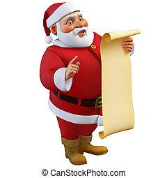 3d cartoon santa holding a roll