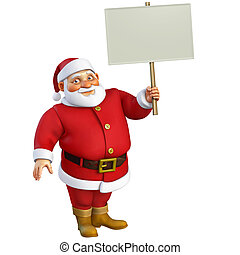 3d cartoon santa holding placard