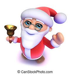 3d Cartoon Santa rings his Christmas bell