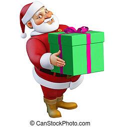 3d cartoon santa with present