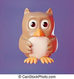 3d cartoon wise old owl wings held in front, 3d illustration render