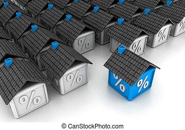 3d, casa, con, percento, simbolo