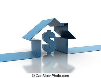 3d, casa, e, segno dollaro