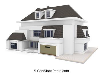3d, casa, isolado, branco