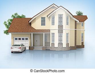 3d, casa, isolato, bianco, reso, generico