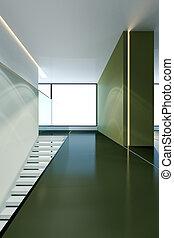 3d, casa, moderno, interno, interpretazione