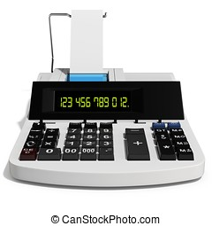 3d cash register on white background
