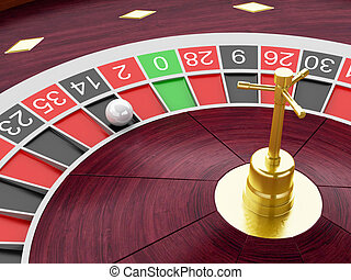 3d Casino roulette wheel with ball on number 14.