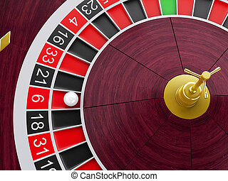 3d Casino roulette wheel with ball on number 6.