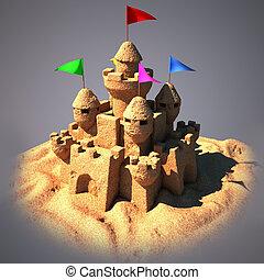 3d, castillo arena