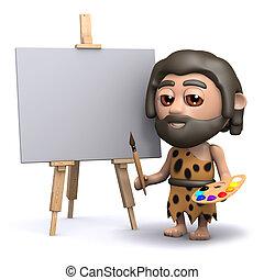 3d Caveman artist