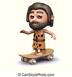 3d Caveman on skateboard