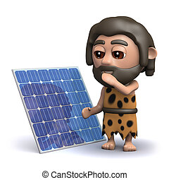 3d Caveman with his new solar panel