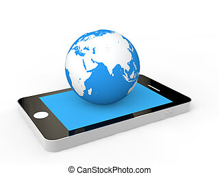 3d cellphone and earth globe