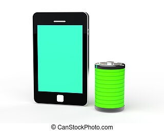3d cellphone and green battery
