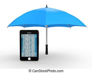 3d cellphone under umbrella