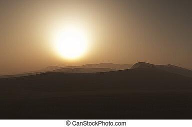 3d, cena, nebuloso, deserto