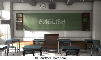 """3D CG, Empty English school classroom"""
