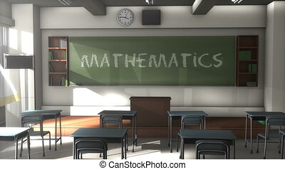 """3D CG, Empty Mathematics school classroom"""