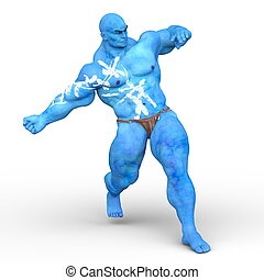3D CG rendering of a strong man