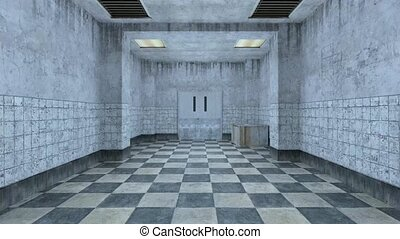 3D CG rendering of Abandoned hallway