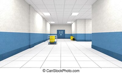 3D CG rendering of building hallway
