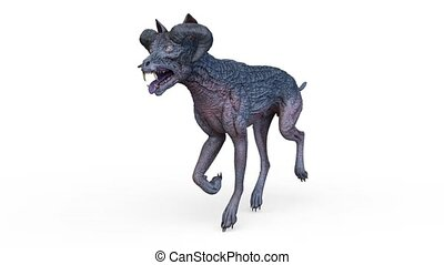 3D CG rendering of monster dog