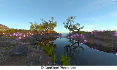 3D CG rendering of Riverside scenery