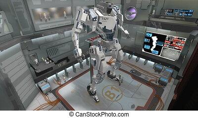"""3D CG, Spaceship hangar with giant battle robot."""