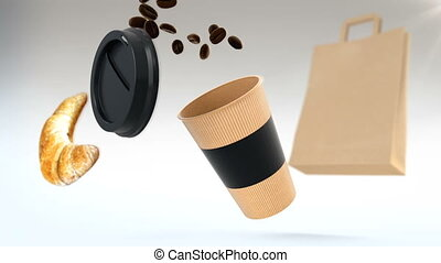 3D CGI animation of paper cup flying in air and being filled...