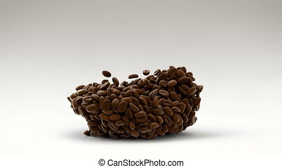3D CGI footage of coffe beans lying on floor starting to...