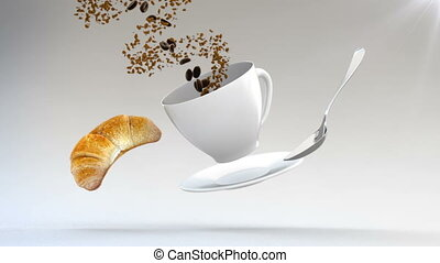 3D CGI footage of flying croissant, spoon, plate and coffe...