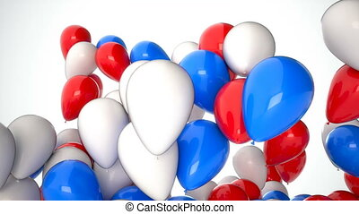 3D CGI footage of red, white and blue balloons flying up over white background. Perfect animation for holidays and celebrations