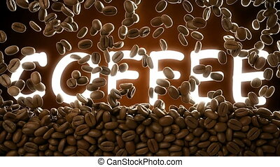 3D CGI footage of roasted coffee beans falling and covering...