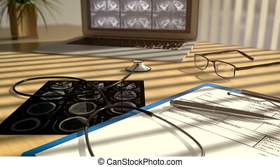 3D CGI video of camera moving along table at doctors office with xray scans, stethoscope and laptop