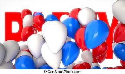 3D CGI video of colorful balloons flying over big word Party. Perfect animation for greetings and holidays