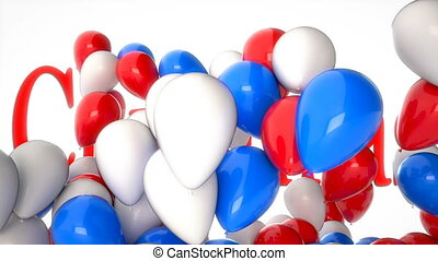 3d CGI video of colorful balloons flying over word Christmas. Perfect footage for winter holidays and celebrations