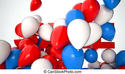 3D CGI video of colorful balloons over word Sale. Perfect...