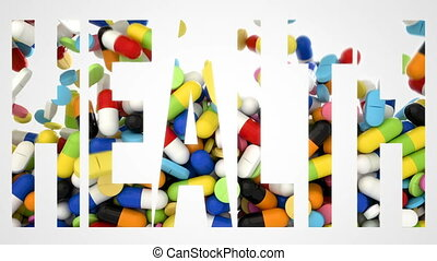 3D CGI video of colorful pills falling over white background...