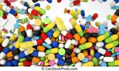 3D CGI video of of colorful pills and tablets falling over...