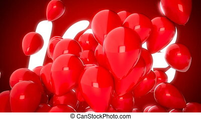 3D CGI video of red balloons flying over word love. Perfect animation for Valentines day