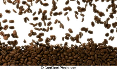 3D CGI video of roasted coffee beans falling over white...