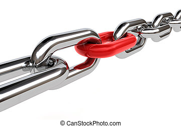 3d chain - 3d render of chain with a red chain on white