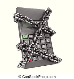 3d Chained calculator - 3d render of a chained up calculator