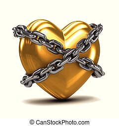 3d Chained gold heart