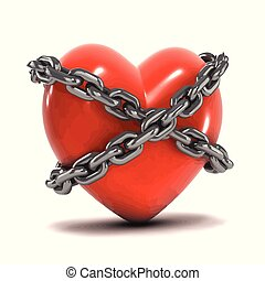 3d Chained heart